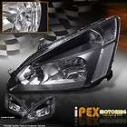FREE SHIP 2003 2007 HONDA ACCORD JDM BLACK HEADLIGHTS (CLEAR REFLECTOR