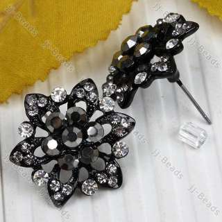 Pair Rhinestone Crystal Bead Flower Ear Stud Earring