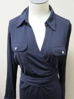 by Ralph Lauren Matte Jersey Shirt Dress Wrap Dress PL Navy NWT $169