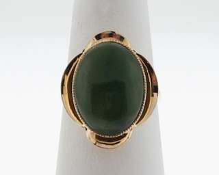Estate 16x12mm Green Jade Nephrite Solid 14k Yellow Gold Cocktail Ring