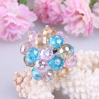 Adjustable Colorful Crystal Faceted Beads Ring jra15