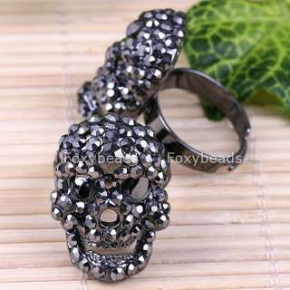 GREY Crystal Gothic Skull Mens Cocktail Ring New #6.5