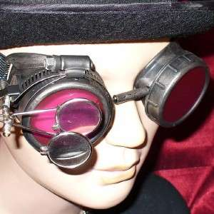 Steampunk Goggles Glasses magnifying lens Pewter Red