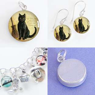 HALLOWEEN WITCH CAT BROOM Sterling Silver Charm Pendant