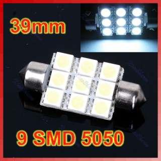 39mm 9 SMD LED 5050 White Festoon Dome Car Light Lamp Bulb