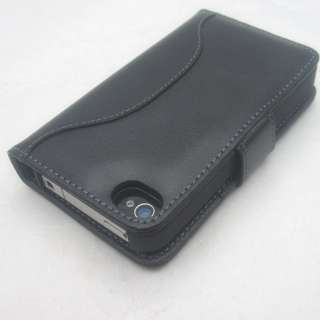 Genuine Leather Black Luxury Wallet Sleeve Case for iPhone 4 4S