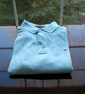 NWT Tommy Hilfiger Mens Short Sleeve 100% Cotton Mesh Aqua Blue Polo