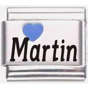Martin Dark Blue Heart Laser Name Italian Charm Link Jewelry