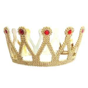 Royal Gold Queen Crown with Red Jewels ~ Halloween Queen