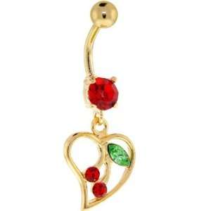 24kt Gold Plated Red Cubic Zirconia Hollow Heart Cherry