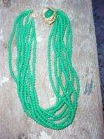 Vintage Green Glass Bead Multi Strand Necklace w Rhinestone Flower