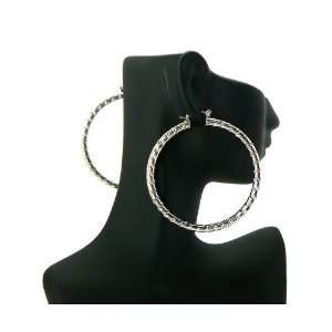 Basketball Wives PaParazzi Hoop Earring Silver LXE24R 60mm