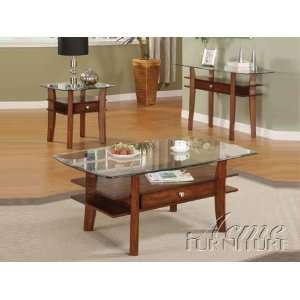 Glass Top 3pc Coffee/End Table Set with Wood Base #AC