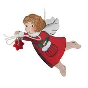 Red Angel Flying with Star Christmas Ornament