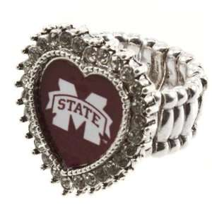 Band Ring with Crystal Rhinestones Surrounding the Heart Shaped