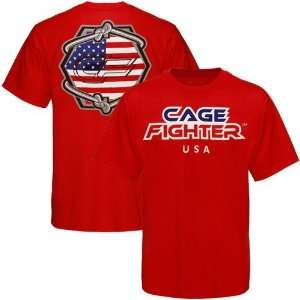 Fighter by MMA Authentics Red USA Country T shirt Sports & Outdoors