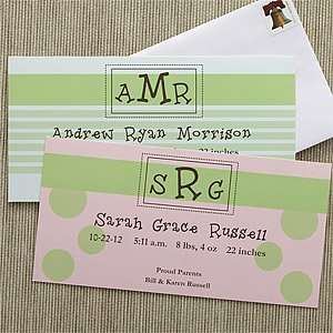 Monogram Personalized Baby Birth Announcements