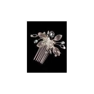 Mesh Leaf and Rhinestone Metal Hair Comb 6064 Beauty