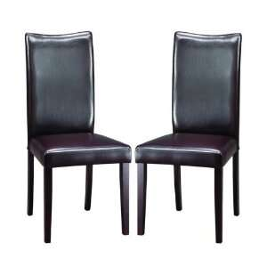 of 2 Parson Dining Chairs Padded Seat and Back Dark Brown Faux Leather