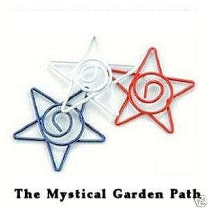 15 Red White Blue Wire Star Spirals Mix Altered Art