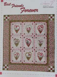 Best Friends Forever Quilt Pattern Hearts Flowers