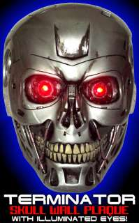 TERMINATOR ROBOT SKULL LIFE SIZE RESIN WALL PLAQUE with LED eyes