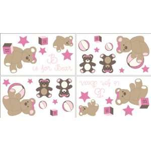 Pink and Chocolate Teddy Bear Girls Baby and Kids Wall