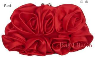 Red Rose Flower Bridal Wedding/Prom Bag Purse Clutch xi