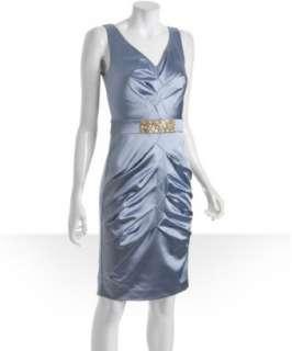 Nicole Miller light blue stretch satin crystal embellished dress