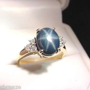GENUINE BLUE STAR SAPPHIRE & DIAMONDS 10K GOLD RING