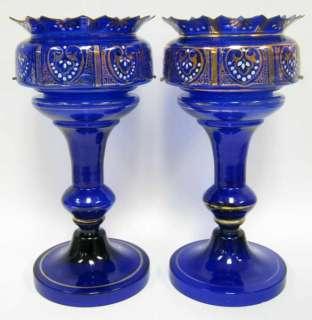 ANTIQUE BOHEMIAN COBALT BLUE GLASS LUSTRES+PRISMS $1 NR