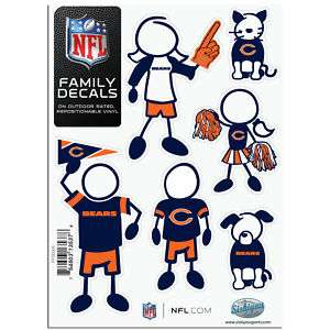 CHICAGO BEARS LOGO NFL 6pk FAMILY Car Decal Set NEW