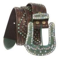 Ladies Western Turquoise Rhinestone Studded Genuine Leather Belt
