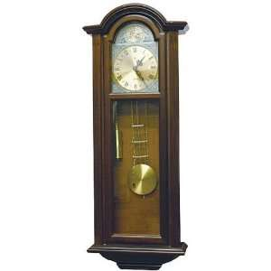 Ornate Wood Wall Clock with Black Roman Numerals