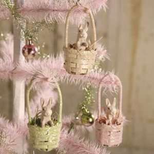 Bethany Lowe Designs Set of 3 Bunny Basket Ornament