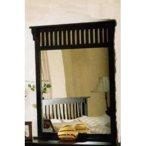 Bedroom Mirror Mission Style in Distressed Black Finish