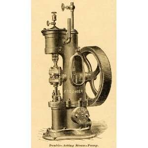 1878 Print Double acting Piston Steam Pump Vintage Valley