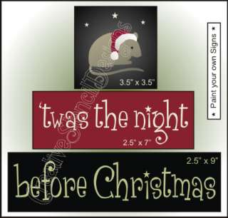 Stencil Trio #T285 ~ Twas the night before Christmas with little mouse