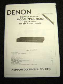 Original Denon TU 400 Service Manual