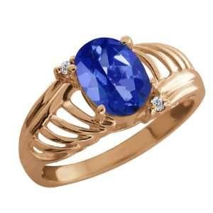 64 Ct Oval Sapphire Blue Mystic Topaz White Diamond 18K Rose Gold Ring