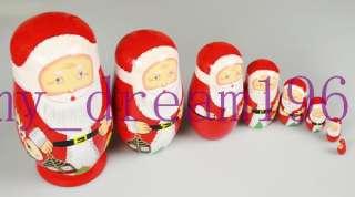 One set 8 PCS Russian Nesting Red Doll   Santa Claus