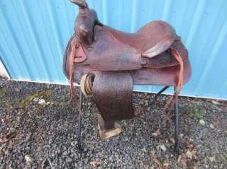 Vintage TEX TAN Brahma Brand WESTERN Ranch SADDLE 15 Seat