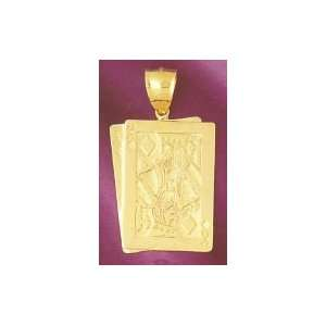 14K Gold Playing Card Charm Jewelry