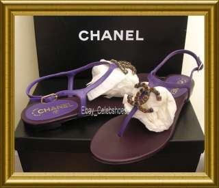 2012 LATEST CHANEL BIG CC LOGO PURPLE LEATHER THONG SANDAL SHOES 40.5