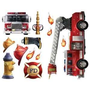 Fire Truck Brigade   22 Boys Firefighters Wall Stickers Decals