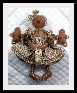 Primitive Raggedy Gingerbread Doll w/Babies~PATTERN #39