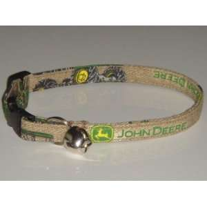 Cat Kitten Pet Collar   John Deere Brown Tan Tractor