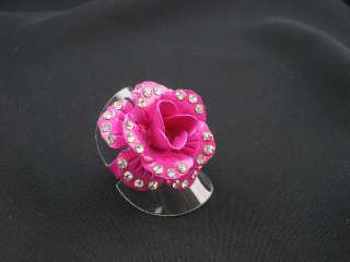 WHOLESALE LOT ROSE FLOWER CRYSTAL FASHION JEWELRY RINGS