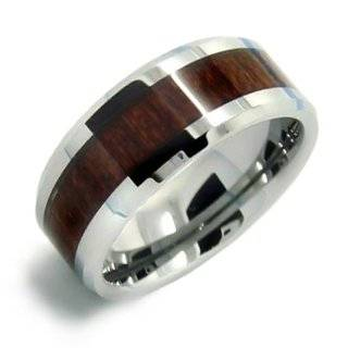8MM Mens Tungsten Carbide Ring Wedding Band Wood Inlay Size 8