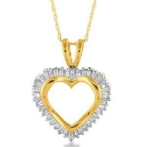 10K Yellow Gold Diamond Heart Pendant w/ 18 Chain Jewelry